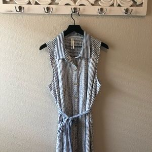 By Anthropologie Blue White Striped Eyelet Dress